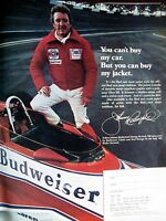 1979 Budweiser Johnny Rutherford Original Print Ad 8.5 x 11""