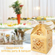 25-100pcs Favor Candy Boxes Laser Cut w/ Ribbons Baby Shower Favor Baptism Party