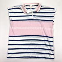 VTG Women's Jantzen Nautical Polo Beach Shirt Coverup Anchors Pink Blue • Medium