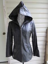 Vakko Sport Black Leather womens ladies jacket hooded hoodie S used V Good!