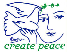 Create Peace (With Picasso Dove) - Magnetic Small Bumper Sticker / Decal Magnet