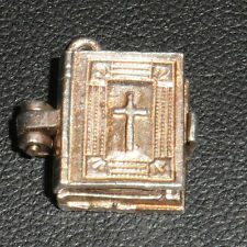 F92 SOLID SILVER OPEN BIBLE REVEALING LORD'S PRAYER CHARM
