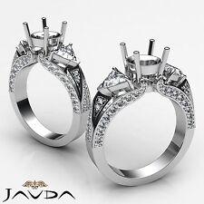 Trillion Round Diamond 3 Stone Semi Mount Unique Wedding Ring 14k White Gold 1Ct