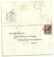 1855  RARE =958= NUMERAL FENCE HOUSES LETTER TO ALBION LIFE INSURANCE Co LONDON