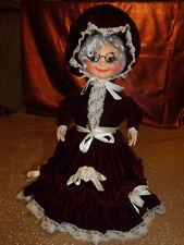 Rare Vintage Grandma Doll with Red Velvet Dress & Bonnet Marked Jerry Stringham