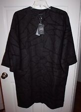 NWT Womens $598 Eileen Fisher Round Neck Charcoal Gray Abstract Coat Size XL