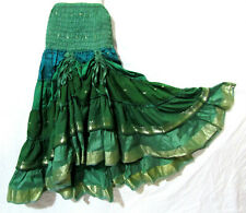Steampunk Boho Gypsy Belly Dance Costume Vintage Silk Tiered Skirt