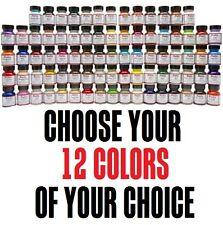 12 colors of your choice 1oz Angelus Acrylic Paint Leather Vinyl Set Starter Kit