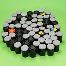 Lot of 68 Pcs of Empty 35mm Film Cases w/ Lid Cannisters Cans Containers Black