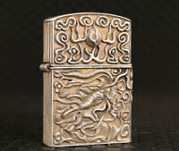 rare chinese tibet silver hand cast dragon art statue lighter cloth box