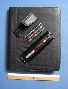 Konferenzmappe / Arbeitsmappe,  DinA4 , schwarz, genarbtes Echtleder + Zubehör