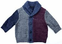Baby GAP Boys BURGUNDY BLUE Colour Block Knitted Button Cardigan Top 0-6m £19.95