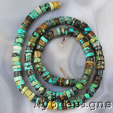 """6x2mm Natural Green Turquoise Heishe Spacer Round Beads 15"""" (TU733)a"""