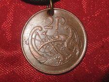 REAL IRISH IRELAND CELTIC KNOT HARP/BIRD COIN CHARM PENDANT NECKLACE
