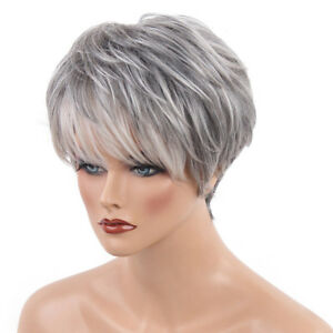 Fashion Short Straight Human Hair Wig w/ Bangs Side Full Wigs for Women
