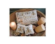 Mind Your Own Beeswax cross stitch pattern CalicoConfectionery Bees Primitive