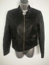 WOMENS ZARA BLACK QUILTED ZIP UP SMART BOMBER FUR FAUX LEATHER JACKET MEDIUM M