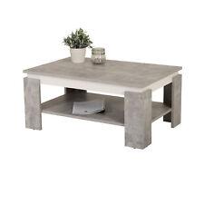 Couchtisch Sofatisch Wohnzimmertisch Ablageboden Tisch 90 x 60cm beton-grau weiß