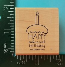 Stampin Up  HAPPY BIRTHDAY  MAKE A WISH  CUPCAKE Rubber Stamp