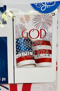 Country Patriotic American Garden Flag July 4th Flag God bless America