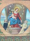 RARE Antique Italian Ave Maria Hand Painted Woven Border Tapestry 19th Century