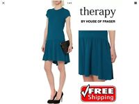 Ladies Womens Stunning Therapy Drop Waist Style Teal Jacquard High Dress 8 To 14