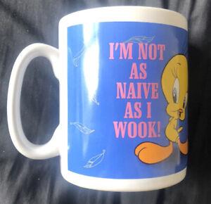 1997 Warner Bros / Looney Tunes Tweety Pie Jumbo Mug I AM NOT AS NAIVE AS I WOOK