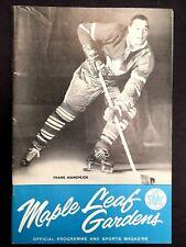 1961 NHL Program Maple Leafs Gardens Leafs vs Blackhawks Frank Mahovlich Vintage