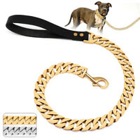 Heavy Duty Stainless Steel Dog Chain Lead Strong Real Leather Handle Large Dogs