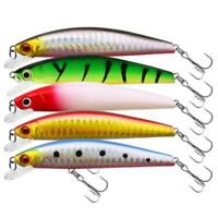 5pcs 8cm/7g Trolling Bait Minnow Fishing Lure Bass Crankbait Tackle Wobbler Hook