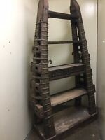 Large Thai Style Bookcase Made Of Wood And Ox Cart Metal From East India Co.