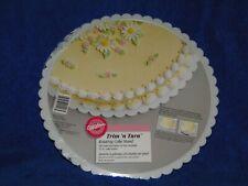 "WILTON VINTAGE TRIM N TURN CAKE STAND #2103-2518, FLUTE-EDGED 12"" PLATE WHITE MO"