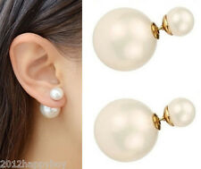 Elegant Women Lady Double Sided White Stud Pearl Front Back Earrings Studs