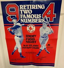 1984 Boston Red Sox Ted Williams & Joe Cronin Number Retirement Night Poster