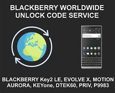 Blackberry Worldwide Unlock Code Service, Key2 LE, Evolve X, Motion, Aurora, Key
