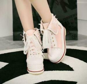 Cute Womes Lace up Ankle Boots Wedge Platform Lolita School Leisure Shoes
