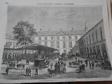 Gravure 1863 - Gare du factage parisien rue Culture Ste Catherine