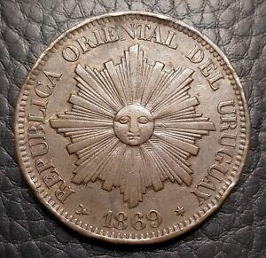 1869 Uruguay 4 Centesimos | XF/AU Condition