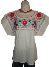 Beige Peasant Boho 100% Gauze Cotton Mexican Embroidered Blouse Top Medium