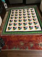 Full Size Quilt Handmade Fan Art Pattern Quilted Bed Home Chair Sofa Comforter
