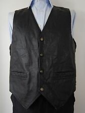 Vintage Mens Black Leather Fronted Biker Motorcycle Waistcoat Vest Size UK 42