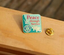 Peace Through Service Rotary International Gold Tone Metal & Enamel Pin Pinback
