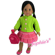 """Doll Clothes 18"""" Skirt Pink Corduroy Top Green Backpack Sophia's Fits Ag Dolls"""