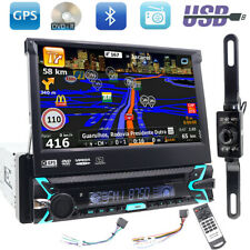 GPS Navigation Bluetooth Single 1 Din 7inch Car DVD/CD Stereo MP3 Player Aux Sub