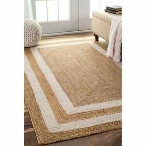 Indian Braided Floor Rug Handmade Jute Rug, Natural Jute Rectangle Rug Floor Rug
