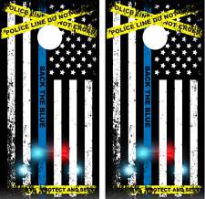 Police Back the Blue Blue Line Flag Cornhole Board Skin Wrap Decal set -LAMINATE