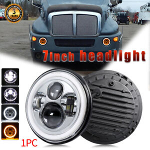 """DOT 7"""" Inch CREE Round LED Headlight Angel Eyes DRL For Kenworth T2000 1998-2010"""