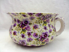 large chamber pot or planter in purple pansy chintz design