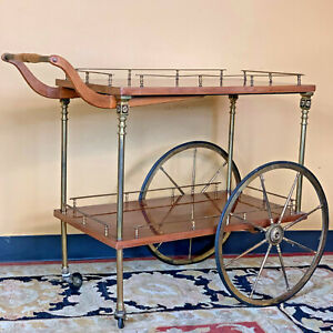 Large Antique Mid Century Bar Cocktail Cart Tray Caddy - Brass & Wood, Beautiful