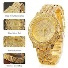 Rapper Hip Hop Fashion Iced Out  Crystal Gold Shiny Women Men's Watches